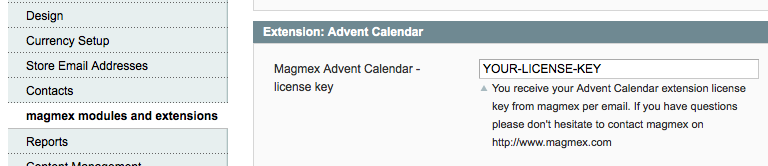 Enter the license key of your Advent Calendar